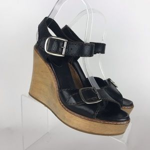 chloe wedge Ankle Straps Sandals Size 38